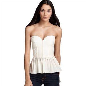 Parker Silk Peplum strapless top/bustier off white